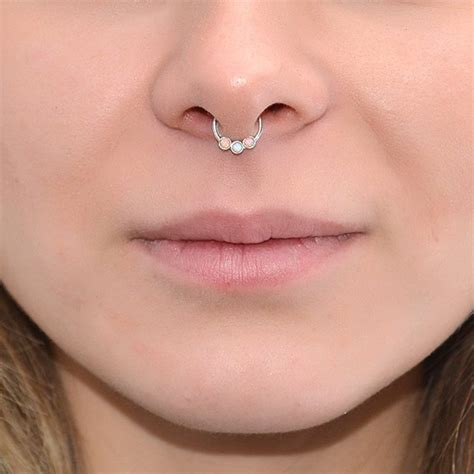 mm opal septum jewelry silver  nipple ring nose ring