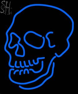 Custom Blue Skull Logo Neon Sign 2