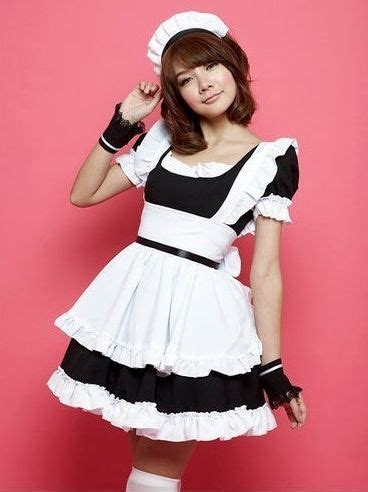Cute Girl Color Block French Maid Costume Set