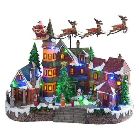 animated light  christmas village scene updown flying