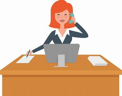 Clipart Desk Reception Receptionist Employee Office Transparent