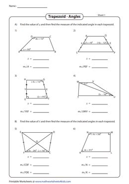 finding angles   trapezoid  properties worksheets