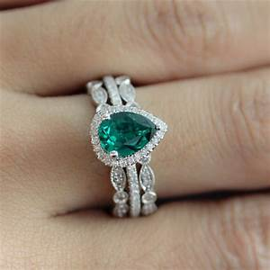 pear cut emerald engagement ring sparta rings With emerald wedding ring set