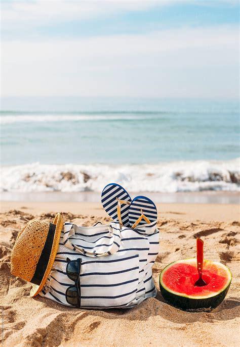 summer bag straw hat sunglasses flip flops