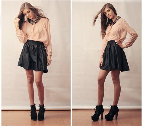 Trends For u0026gt; Black Skater Skirt Outfits Tumblr | Fashionista | Pinterest | Skater skirt Black ...
