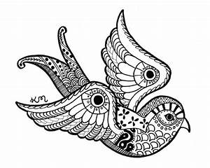 Swallow Ink Drawing Print Abstract Tribal Aztec by ...