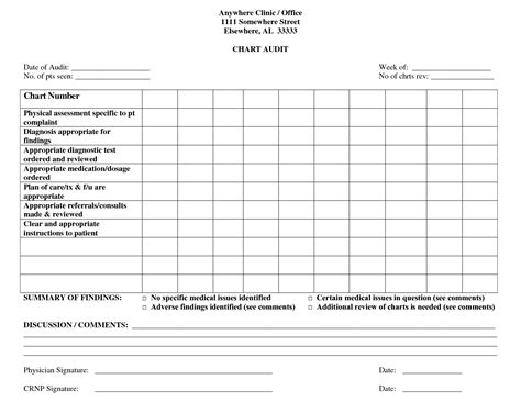 Peer Review Audit 6 best images of chart audit forms nursing home medical
