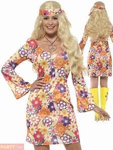 Ladies Flower Hippie Costume Adults 60s 70s Hippy Lady Fancy Dress Womens Outfit   eBay