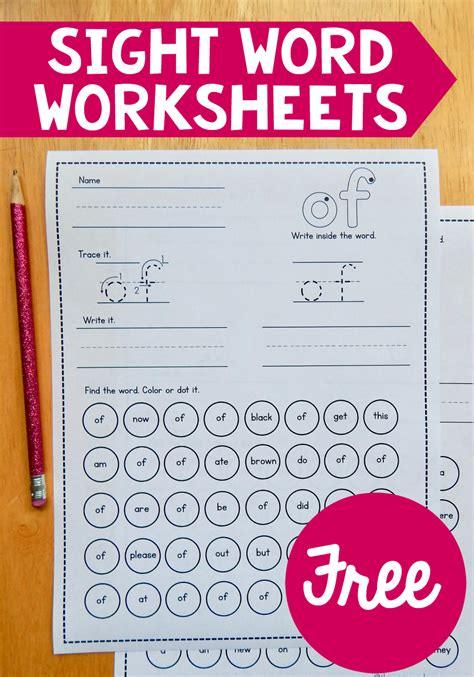 Free Sight Word Worksheets  Sight Word Practice, Worksheets And Primer