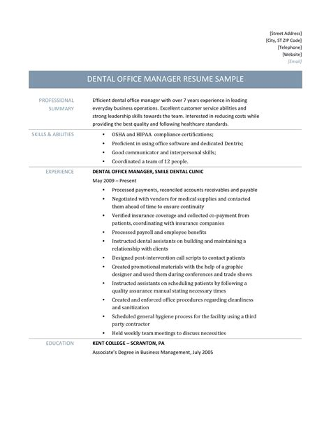 office manager resume template sle resume for dental office manager annecarolynbird 23833