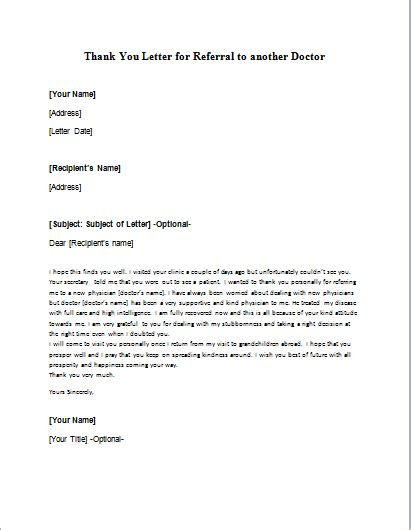doctor referral letters writelettercom