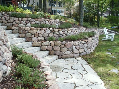Garden Retaining Wall by Retaining Walls And Outcroppings Treetops Landscape