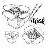 Wok Drawing Vector Box Noodles Chopsticks Chinese Lettering Drawn Isolated Detailed Hand Paintingvalley Drawings Vegetables Fast Asian Illustration sketch template