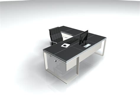 metal table l shades black leather metal executive l shaped desk ambience doré