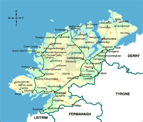 detailed  gaelic map  donegal county ireland