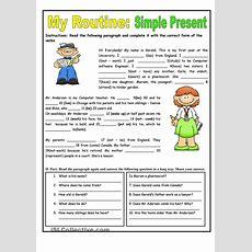 My Routine Simple Present Tense  Worksheet  Kindergarten Level  English Pinterest