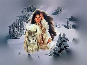 brush feather Native American Woman and Wolf – Abstract