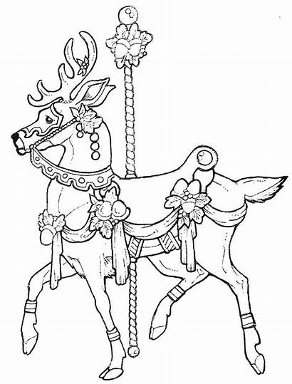 Coloring Carousel Pages Horse Christmas Animals Adult
