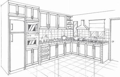 Perspective Kitchen Drawing 2d Renovation Drawings Carpentry