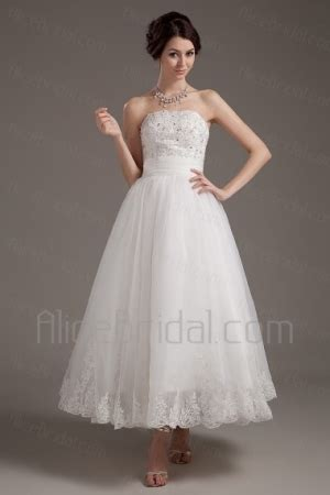 Boat Neck Wedding Dress Tea Length by Boat Neck Tea Length Brocade And Satin Wedding Dress