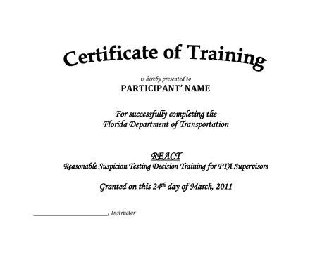 training certificate format  planner template