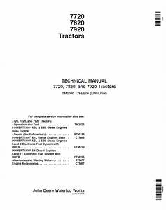 John Deere 7720 7820 7920 Tractor Tm2080 Technical Manual