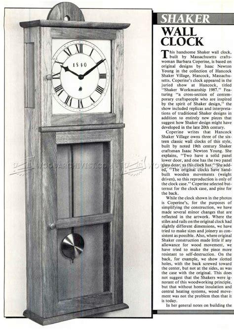 shaker wall clock plans woodarchivist