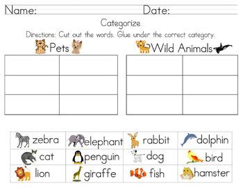 cut and paste classifying worksheets categorize classify worksheets including cut and paste