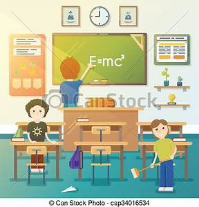 Vectors of Kids cleaning classroom. Vector illustration ...