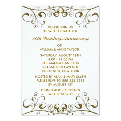 Gold Swirls 50th Wedding Anniversary Invitations Zazzle