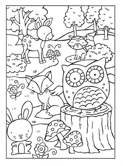 Coloring Pages Animals by Woodland Animals Coloring Pages Coloring For Adults