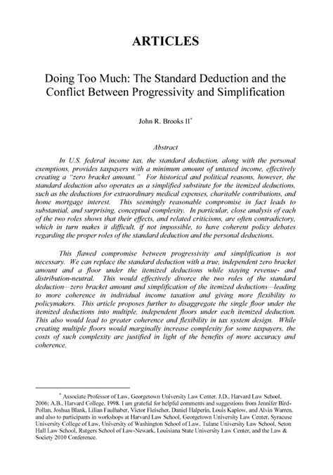 Doing Too Much: The Standard Deduction and the Conflict