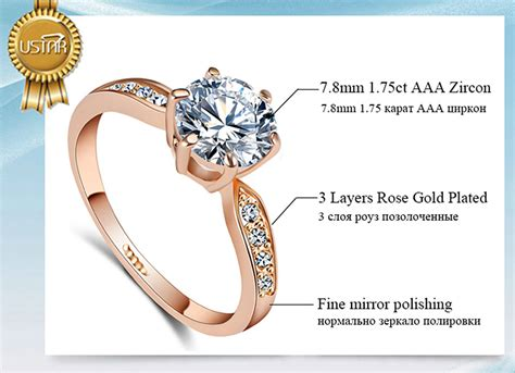 1 75ct aaa zircon engagement rings for women rose gold