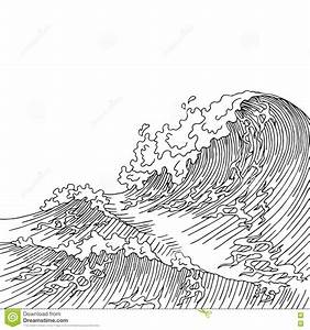 Sea Wave Graphic Art Surf Black White Landscape Sketch ...