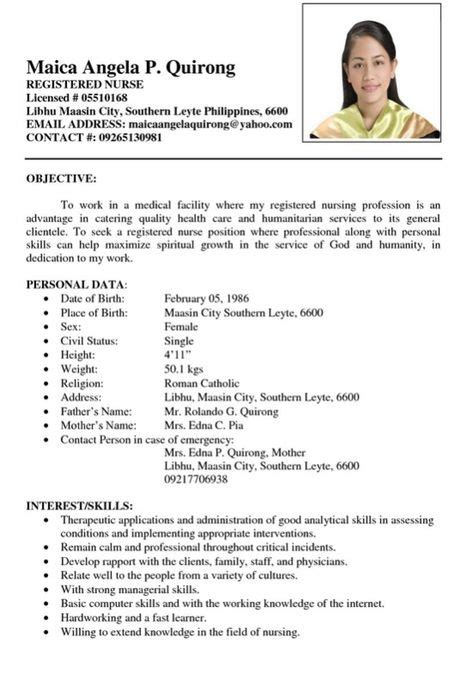 resume objective sample philippines  resume examples