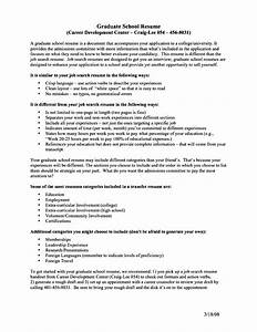 academic resume for graduate school free samples With cv for graduate school