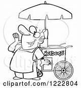 Dog Clipart Cart Food Vendor Happy Coloring Pages Template Royalty Shouting Vector sketch template