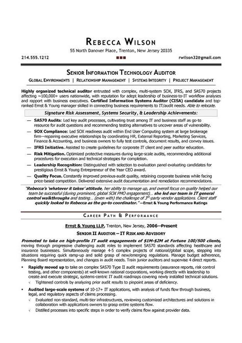 Denver Resume Writer by Senior It Auditor Compliance Sle Resume Resume