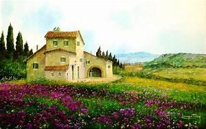 1920x1200 Purple Flowers Cottage Italy desktop PC and Mac ...