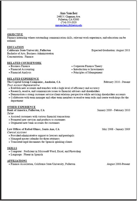 11499 college student resume for internship sle resumes for internships for college students