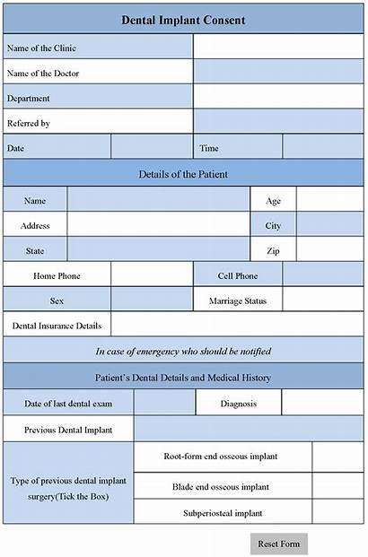 Consent Dental Form Implant Forms Editable Word