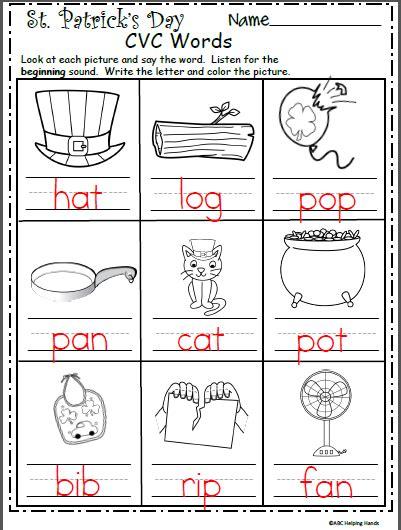 Kindergarten Worksheets Cvc Kindergarten Best Free Printable Worksheets
