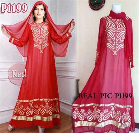 gaun pesta saree bordir p1199 baju gamis modern butik jingga