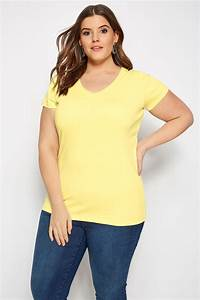 Plus Size Yellow V Neck T Shirt Sizes 16 To 36 Yours