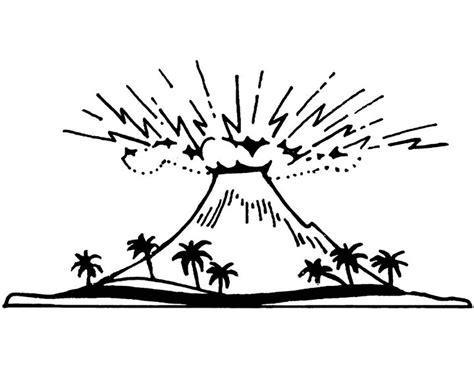 mewarnai gambar gunung merapi untuk anak