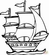 Coloring Pages Ship Spanish Columbus Santa Maria Pinta Pirate Nina Clipart Expedition Drawing Ships Printable Outline Christopher للتلوين Colouring تلوين sketch template