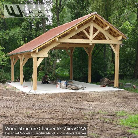 Abris 2 Pans Asymétrique  Charpente Bois  Wood Structure