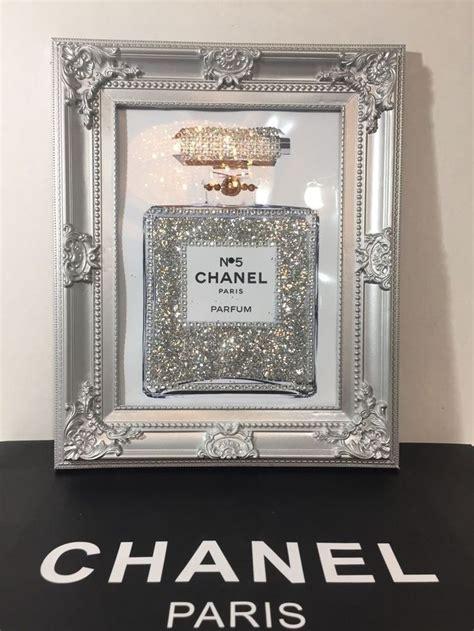 framed pop art chanel   perfume bottle bling glitter