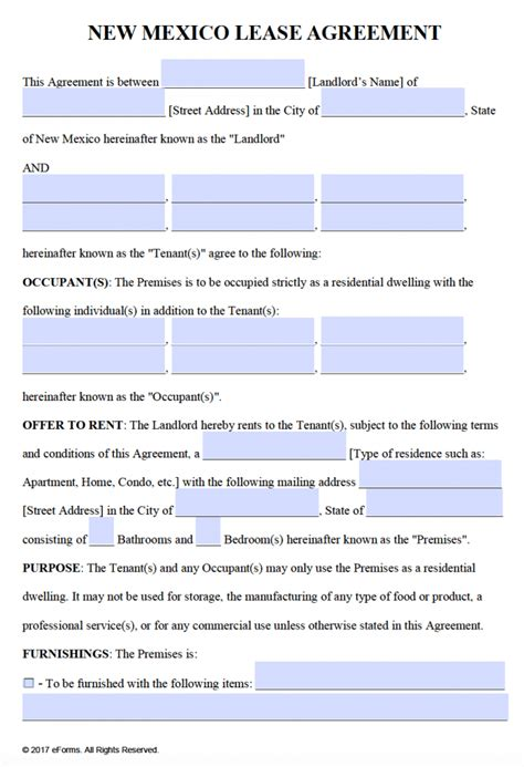 Free Lease Agreement Template Word Free New Mexico Residential Lease Agreement Template Pdf