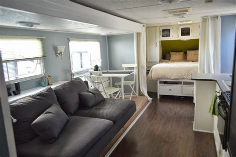 5th Wheel Living Room Up Front by Traveling Triads Travel Trailer Remodel Reveal
